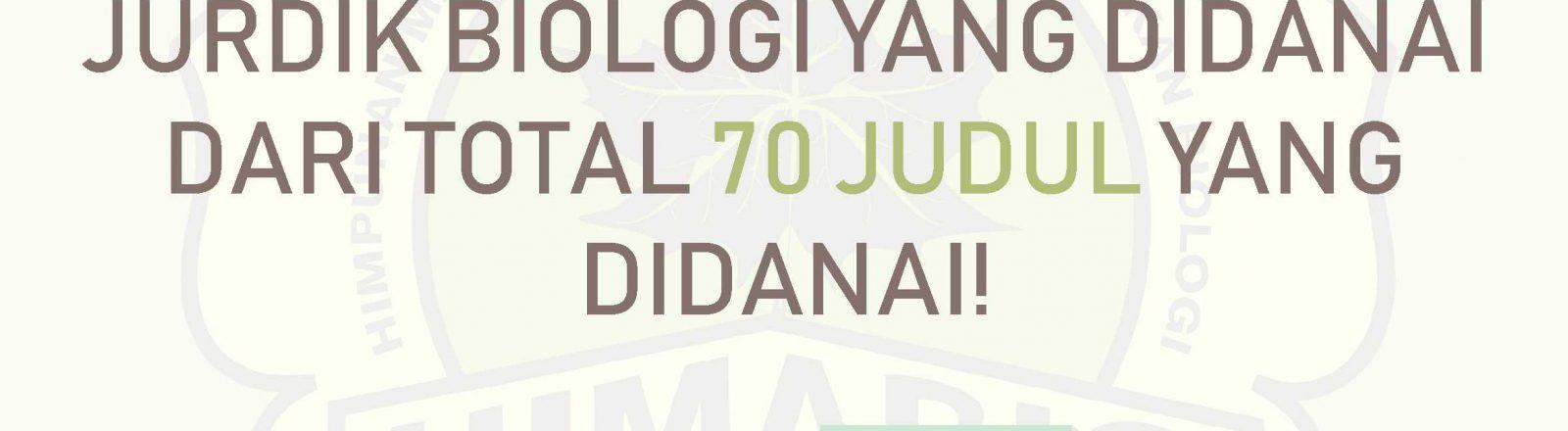 PKM CENTER HIMABIO : PENGUMUMAN PKM 70 JUDUL DIDANAI